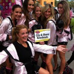 """The City & Shore """"Knockout"""" team at work at Glam-A-THON on Saturday in downtown Fort Lauderdale."""