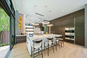walls of wood and marble kitchen